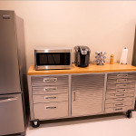 Refrigerator, microwave, and coffee machine