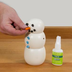 Glue the nose in using CA glue
